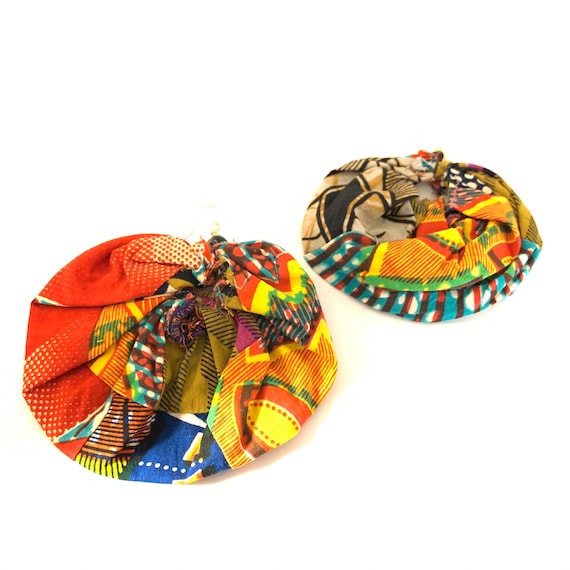 BRONX ROSES - HandCrafted UpCycled Fabric Earrings - African Print w/ Black Agate Accent Bead