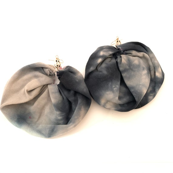 BRONX ROSES - HandCrafted UpCycled Fabric Earrings- Tie Dye Denim Wash