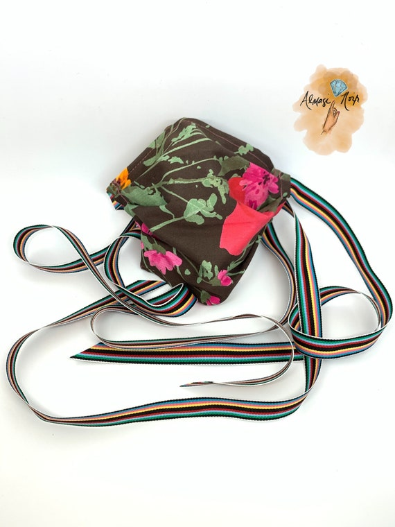 Adjustable - Double Layer - Floral Face Mask w/ Filter Pocket - Rainbow Ribbons