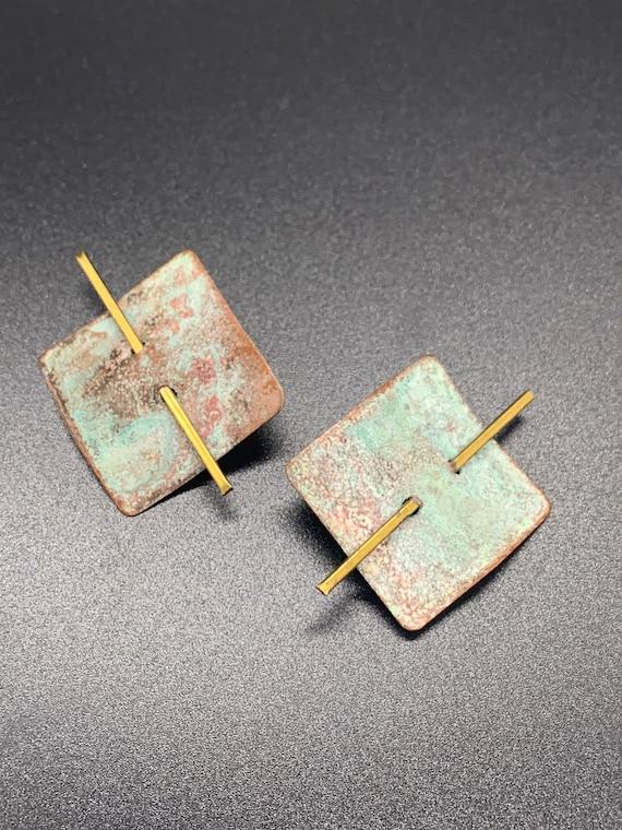 Vintage Oxidized Copper Clip On Earrings