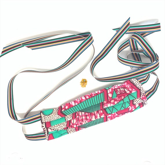 African Printed Fabric Double Layered Face Mask w/ Rainbow Ribbons