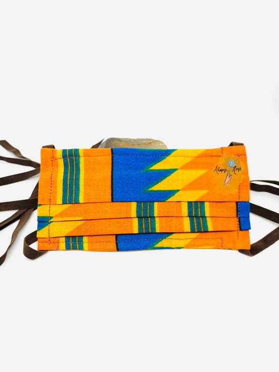 Kente Print African Cotton - Double Layered Face Mask w/ Filter Pocket & Brown Suede Adjustable Ribbons