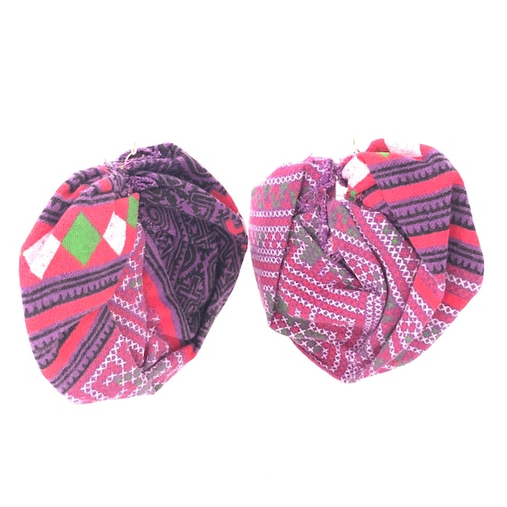 BRONX ROSES - HandCrafted UpCycled Fabric Earrings - Geometric Thailand Print