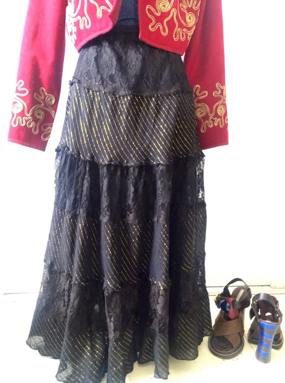 Striped Gold-threaded & Black Lace Swing Maxi Skirt