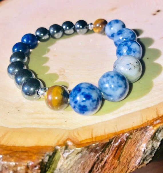 Sodalite & Hematite Beaded Bracelet - Ground w/ a Chance of Slick Talk