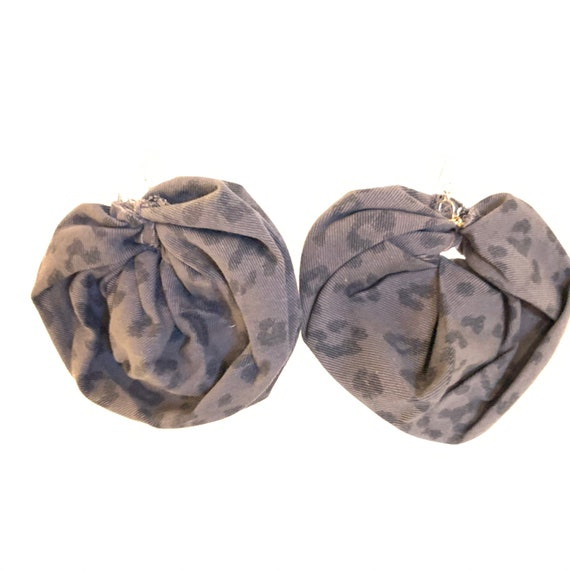 BRONX ROSES - HandCrafted UpCycled Fabric Earrings- Grey Leopard Spotted Denim