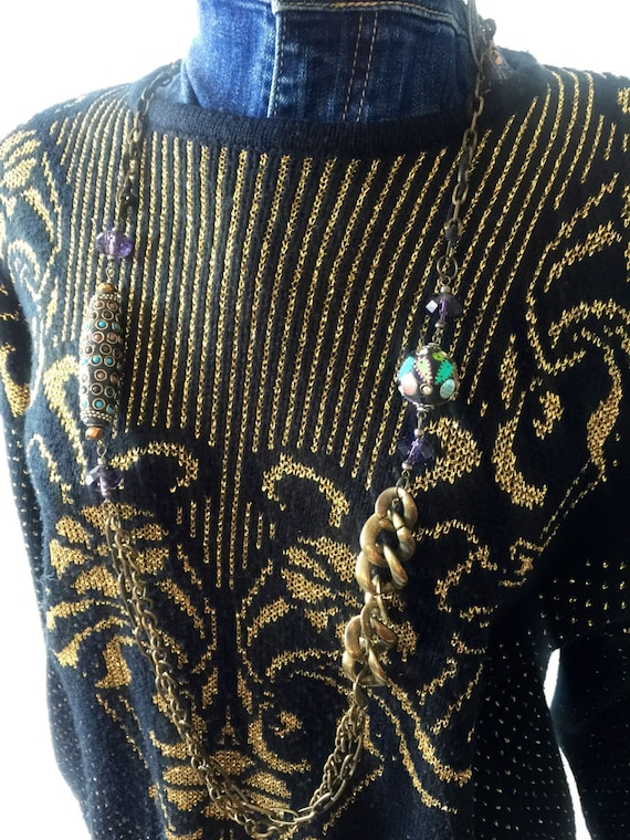 Vintage Gold Threaded Detailed Embellished Wool Sweater, not that itchy shit.