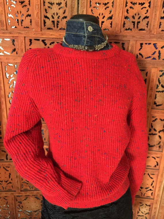 Vintage Punky Brewster-Esque Speckled Wool and Acrylic Ribbed Sweater