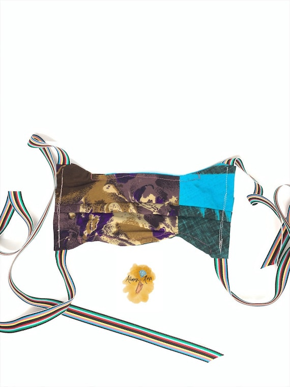 Double Layer Face Mask w/ Ribbons & Filter Pocket