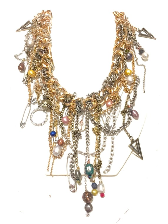 Mixed-media /// gold /// silver ///brass /// statement necklace with charms /// stones /// and vintage findings