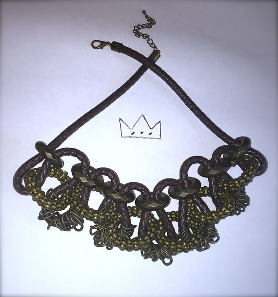 Gold & Brown Leather Braided Necklace /// Statement Necklace /// Dope Jewelry /// Bib Necklace