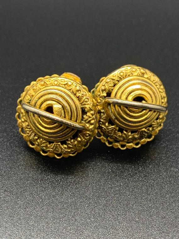 Vintage Gold/Bronze Ornate Clip-On Earrings
