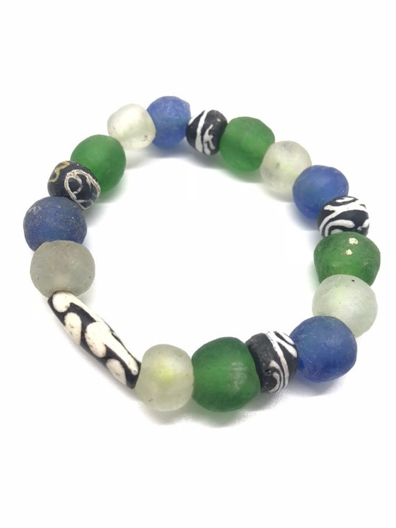 Slow & Steady ••• Vaseline Bead Bracelet w/ Wooden Bead Accents
