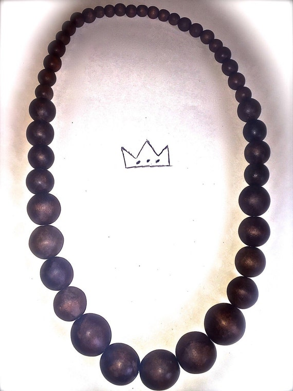 Graduated Wooden Bead Chain Necklace