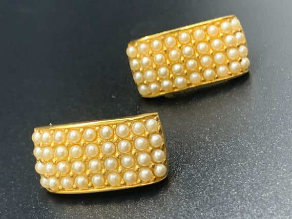 Vintage Pave Pearl Gold Post Drop Earrings