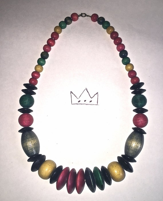 Vintage Wooden Bead Necklace /// Boho Chic Necklace /// Colorblock Necklace /// Rope Necklace
