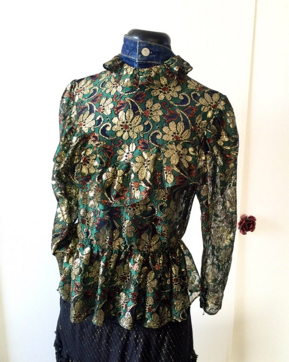 Silk & Vermielle threaded blouse - Tres Chic - Vintage Sexy Appeal