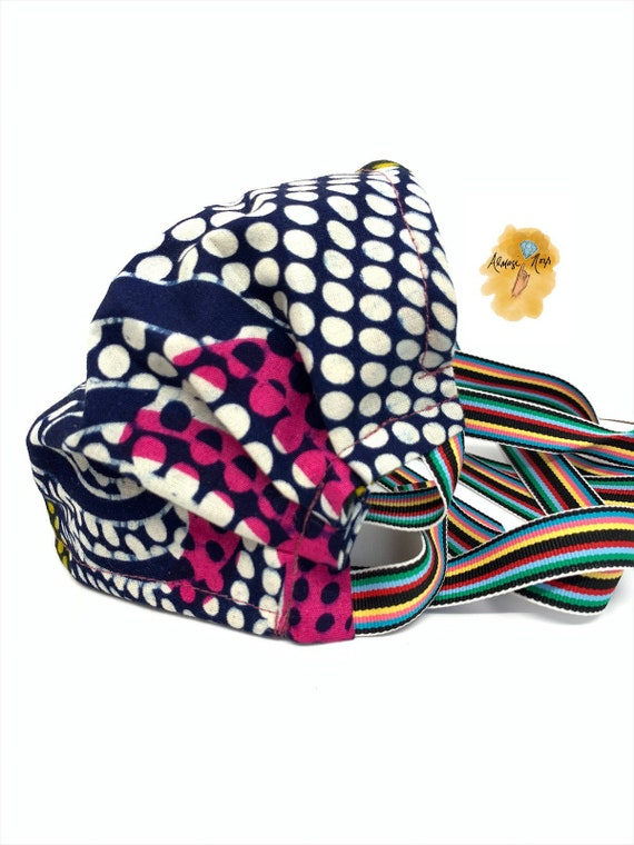 African Cotton Print Face Mask w/ Filter Pocket & Rainbow Ribbons