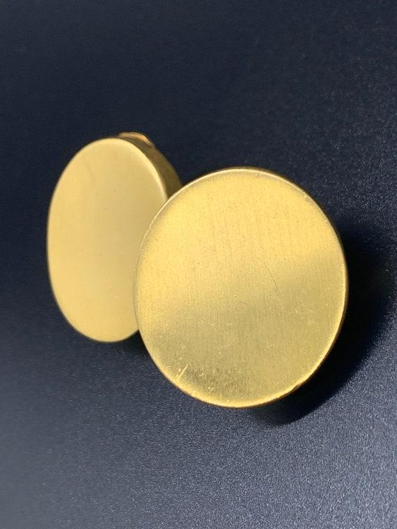 Vintage Brushed Gold Clip-On Disk Earrings
