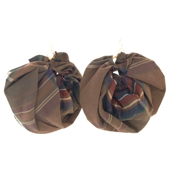 Bronx Roses - HandCrafted UpCycled Fabric Earrings - Plaid