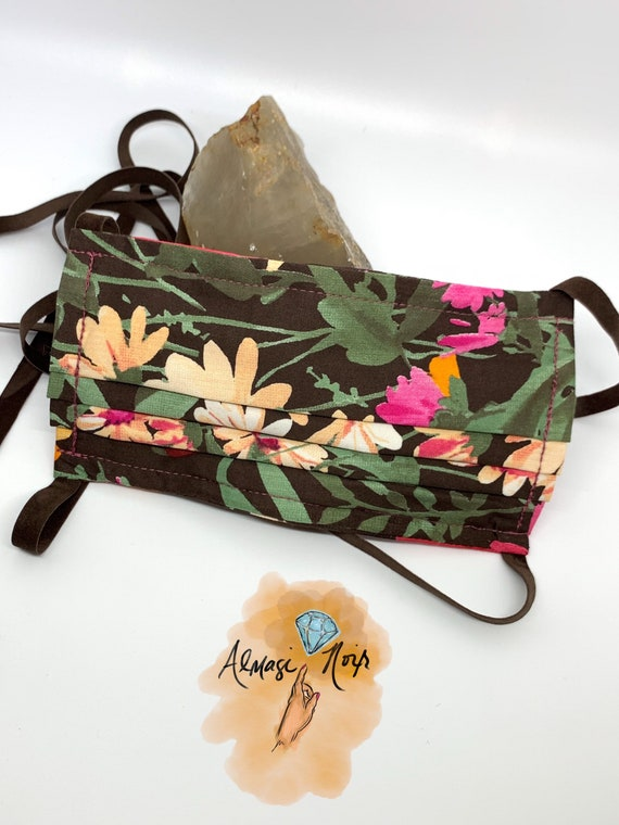 Floral Print Double Layered Face Mask w/ Filter Pocket - Suede Ribbons