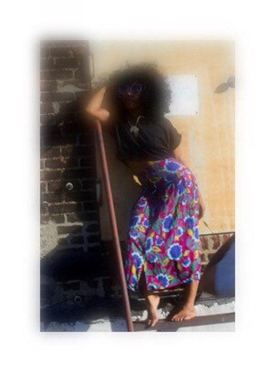 Vibrant Vintage Sunflower Print High-Waist Button Skirt