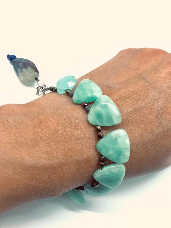 SOLD))) Green Aventurine, Quaryz, & Lapis Lazuli Beaded Charm Bracelet
