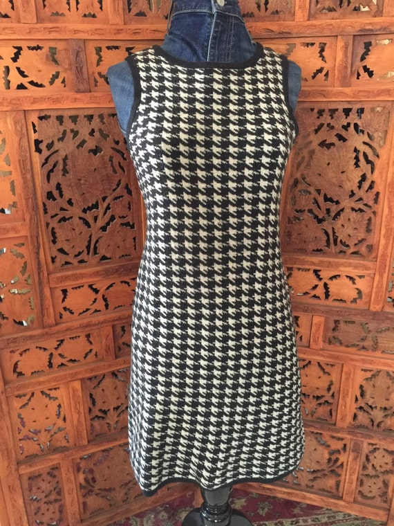 Vintage Houndstooth Cotton ExtraFine Merino Wool Fitted Dress