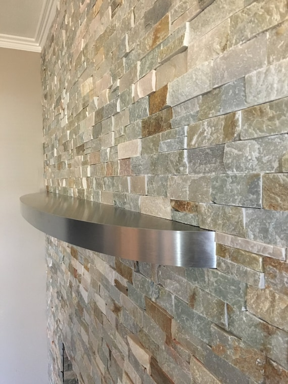 Curved Stainless Steel Floating Shelf Fireplace Mantel