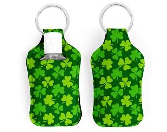 Irish Dancer Hand Sanitizer Holder, Irish Dancing Gift, Irish Dance Key Chain, Stocking Stuffer For Girls with Green Shamrocks - Set of 2