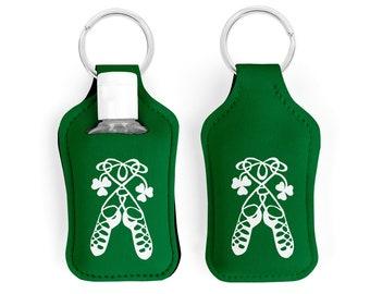 Irish Dancer Hand Sanitizer Holder, Irish Dancing Gift, Irish Dance Key Chain, Stocking Stuffer For Girls with Ghillies Soft Shoes -Set of 2