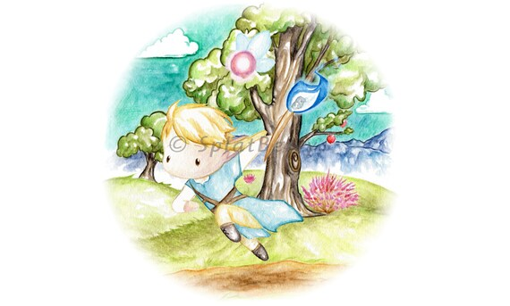 Watercolor Link Legend Of Zelda Botw Blue Flame Colorful Print Giclee From Original Painting Art Cute Nintendo Fairy Breath Of The Wild