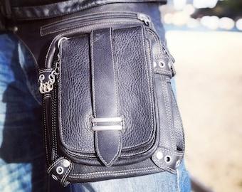 Black Holster Bag/ Leather Utility Belt/ Fashion/ Travel