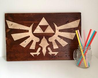 Legend of Zelda Art - Zelda Triforce Sign - Video Game Sign - Gamer Print - Games Room Decor - Mancave Decoration - Gift for Gamers