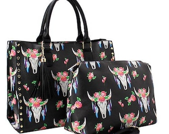 Steer Head Cow Skull Faux Leather 2 in 1 Tote Tote Bag - Black -  Personalized Monogrammed 18958d9d9c