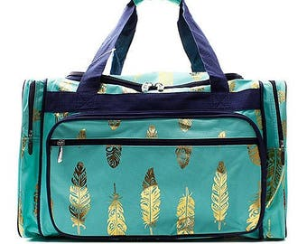 efb6a50791 Feather Duffel Overnight Bag Gym Bag - Mint Turquoise and Gold -  Personalized Monogrammed