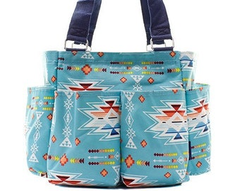 Grooming Tote Caddy Bag Horse Dog - Blue Aztec - Personalized Monogrammed 09dc41fb7ffc0