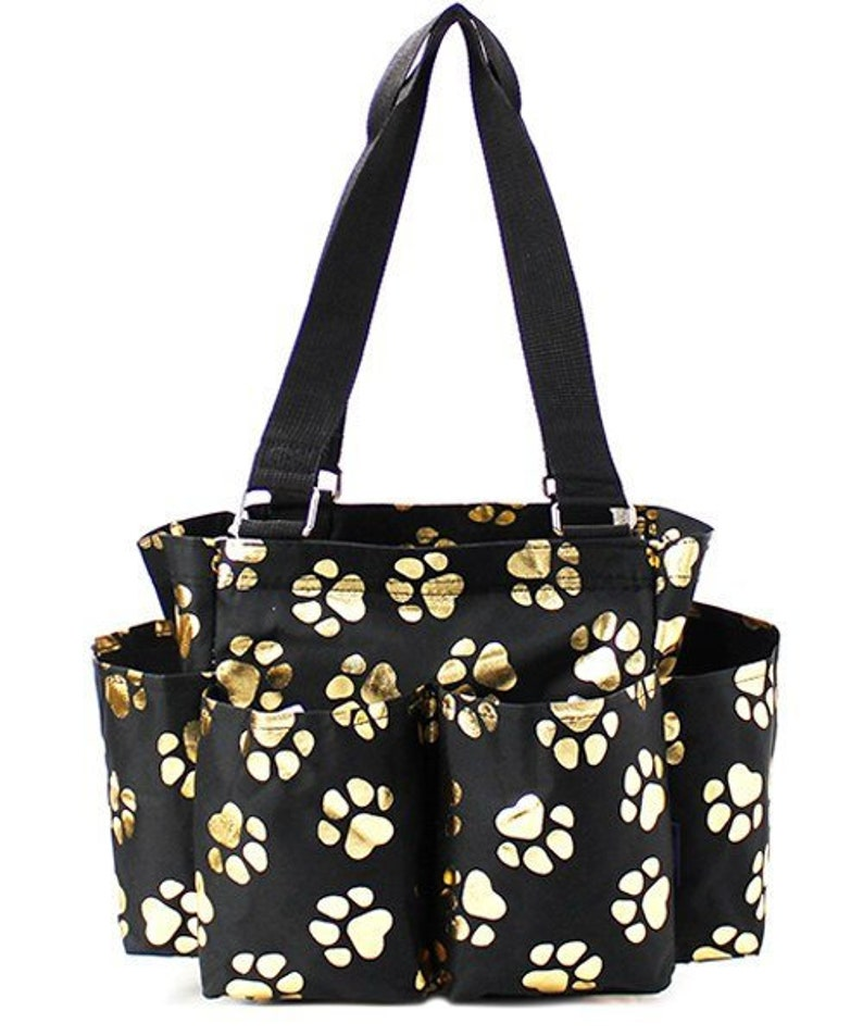 Black and Gold Paw Print Grooming ToteCaddy Bag HorseDog PersonalizedMonogrammed