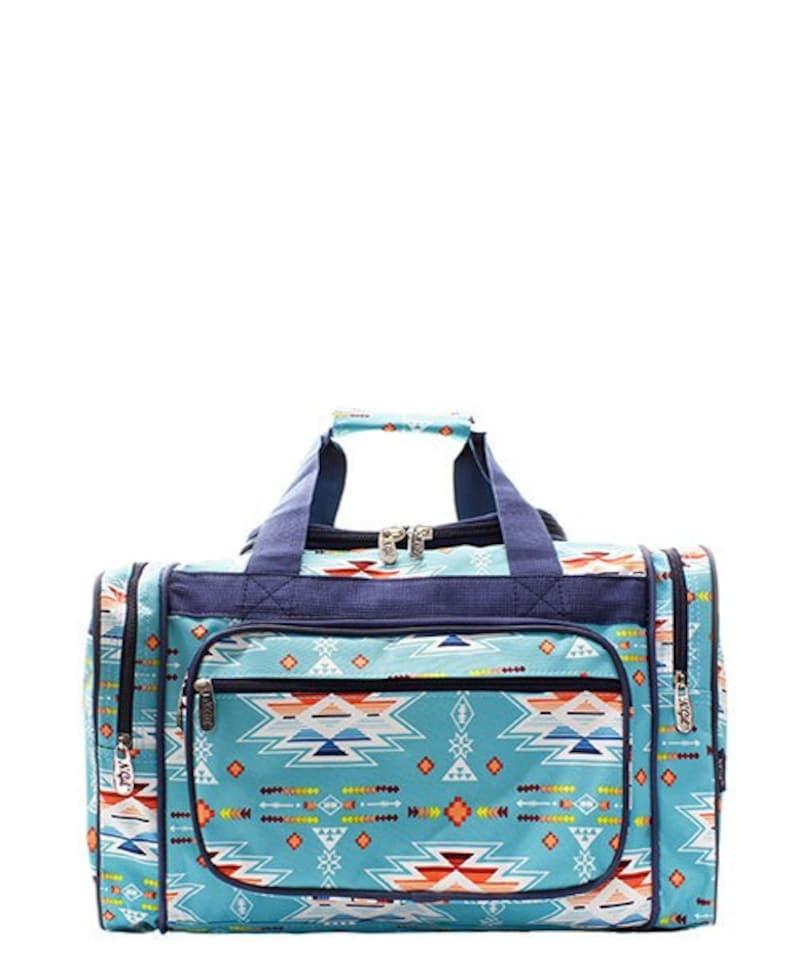3cae91b492 Duffel Overnight Bag Gym Bag Blue Aztec