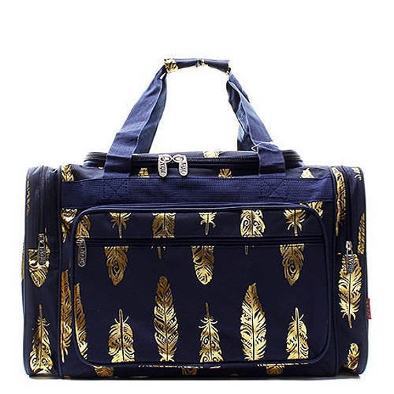 54ec86f3f5 ON SALE Feather Duffel Overnight Bag Gym Bag Navy and