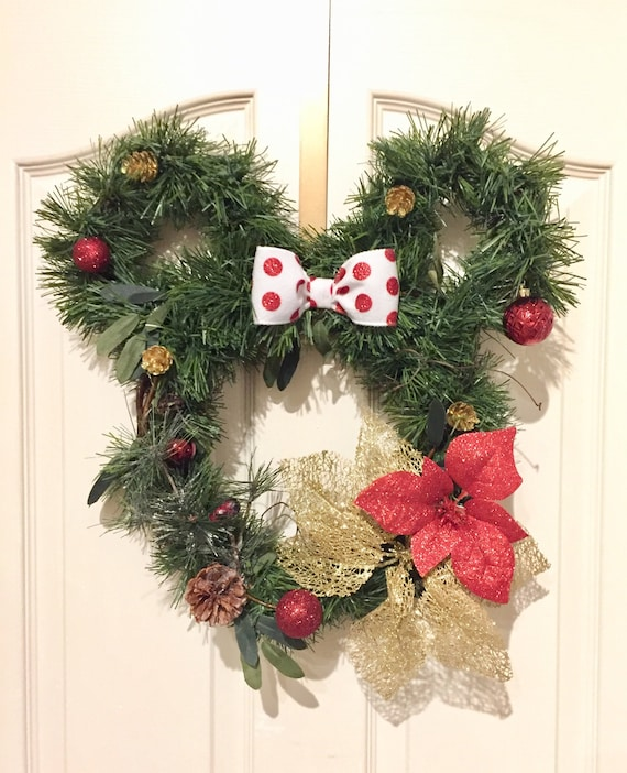 Disney Christmas Decorations.Minnie Mouse Christmas Wreath Christmas Wreaths Wreaths Disney Decor Disney Holiday Decor Disney Christmas Decorations