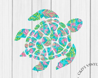 Sea Turtle Decal - Monogram Turtle Decal - Monogram Car Decal - Monogram Decal -Tumbler Decal - Monogram Turtle Decal - Turtle Decal