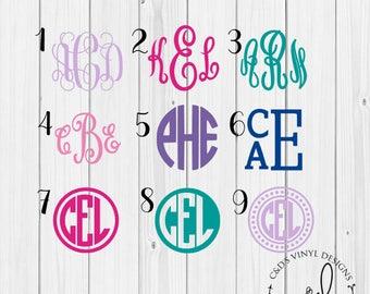 Monogram Decal - Monogram Sticker - Monogram Decals - Monogram Laptop Decal - Car Decal - Custom Cup Decal - Monogram Car Decal - Monogram