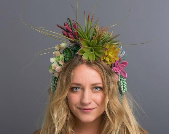 Indian Summer Succulent Southwestern Wild Jungle Flower Crown Desert Princess Festival Boho Headdress Green Pink Red Aztec Headpiece Mexican