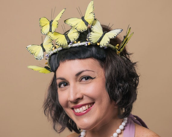 Yellow Butterfly Halo Easter Ethereal Crown Fairy Tiara Spring Summer Circlet Headdress Woodland Headpiece Princess Costume Whimsy