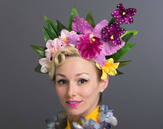 Luau Tiki Jungle Orchids Flower Crown Purple PalmTropical Headdress Exotic Floral Headpiece Oasis Rave Festival Fascinator Hawaiian Queen