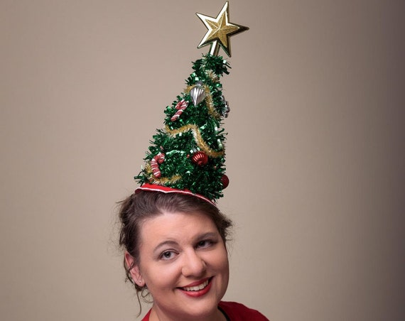 Christmas Tree Ugly Christmas Hatinator Funny Head Piece Hand Made Sweater Ornaments Candy Canes Novelty Gold Star Holiday Red Skirt Lights