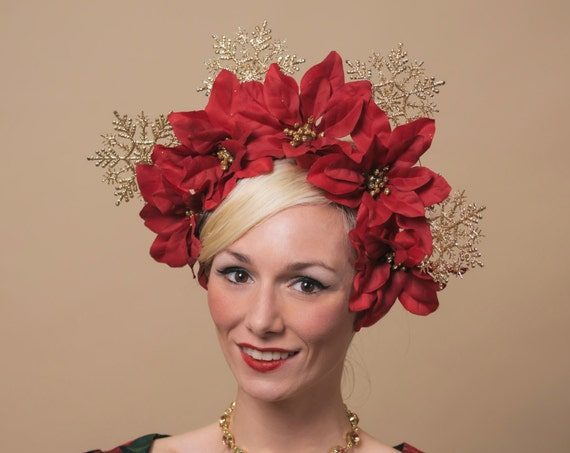Large Red Poinsettia Flower Crown Ugly Christmas Sweater Head Piece Novelty Party Headdress Gold Glitter Snowflake Holiday Headpiece Drag