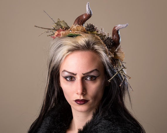 Krampus Christmas Devil Costume Fascinator Brown Frosted Hand Made Horn Burlap Headdress German Santa Bells Birch Funny Headpiece Ugly