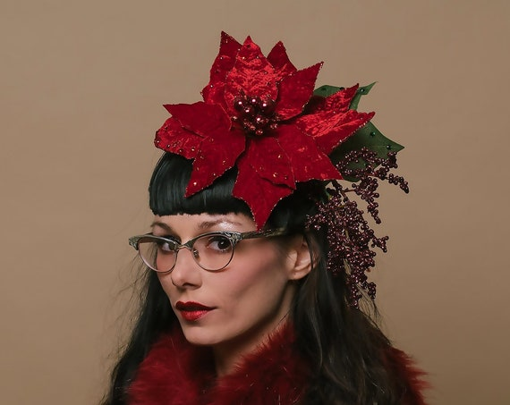 Red Velvet Christmas Poinsettia Head Piece Ugly Tacky Holiday Party Classy Hat Crystals Burgundy Berries Fascinator Classy Winter Hatinator